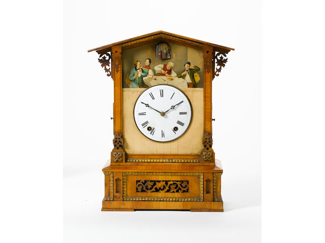 A late 19th century Black Forest mantel cuckoo clock Painting signed A. Dilger