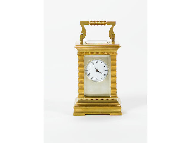 A late 19th Century French miniature carriage timepiece,