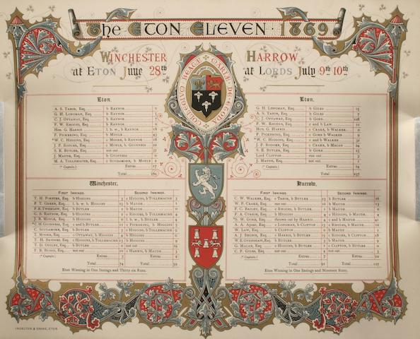 Printed commemorative Eton Scorecard 1869