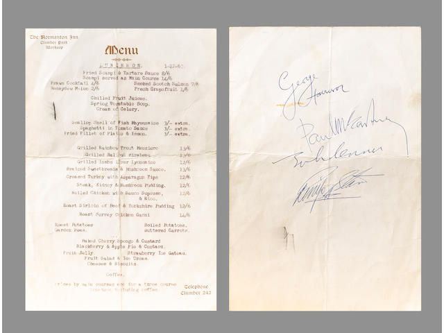 A menu card autographed by the Beatles,