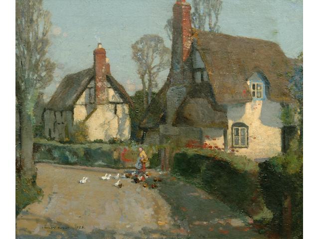Stanley Royle R.B.A., A.R.W.A. (1888-1961) 'Fourteenth Century Cottages, Worcestershire'