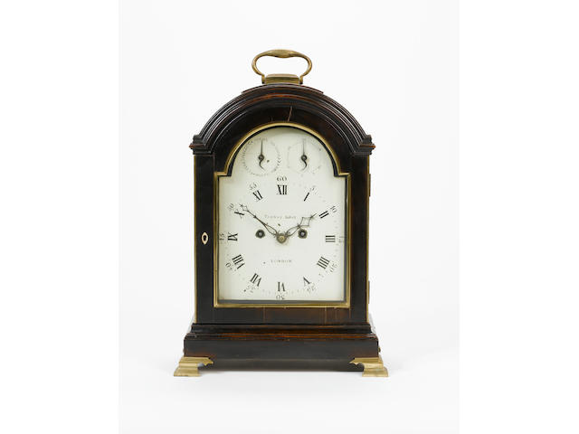 A late 18th century ebonised fruit-wood verge bracket clock  Dial signed Thomas Gray, London