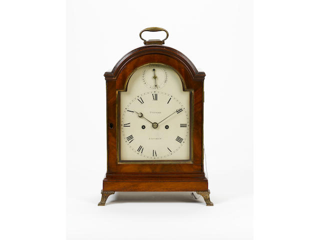 A Regency arch topped mahogany bracket clock  Tupman, London