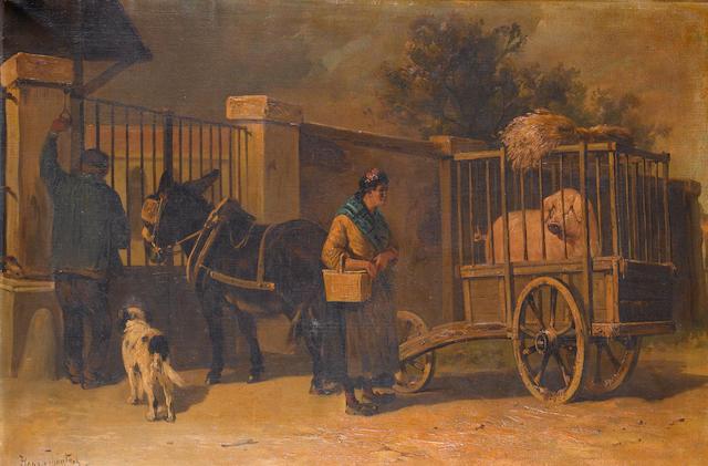 Henry Schouten (Belgian 1864-1927)  Market day 60 x 90 cm. (23 1/2 x 35 1/2 in.)