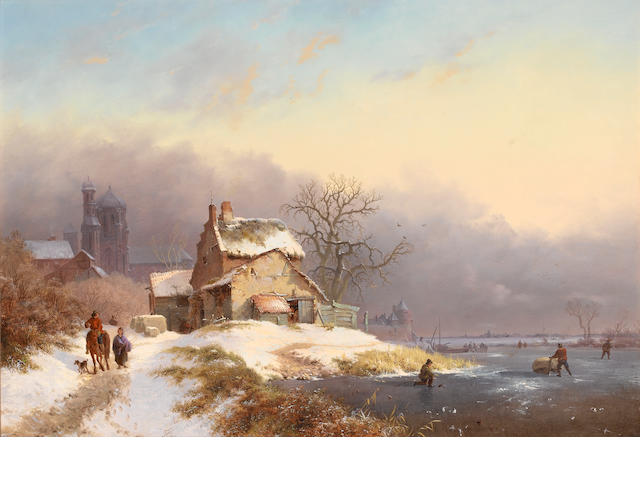 Frederik Marinus Kruseman (Dutch 1816-1882) Villagers by a frozen river 41.5 x 58 cm. (16 1/4 x 22 3