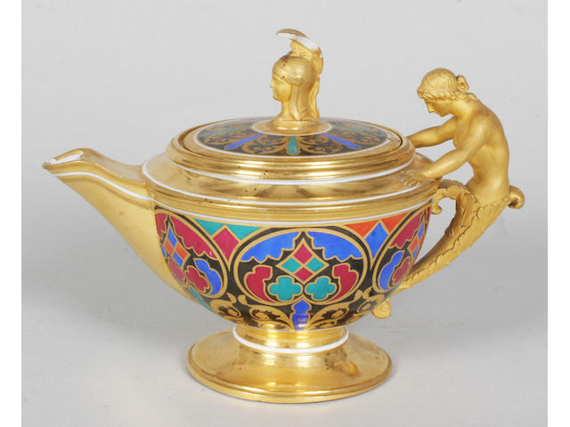 A Russian porcelain teapot and cover