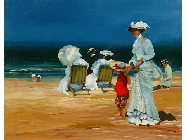 Brian Shields (Braaq) (1951-1997) Figures and children in Edwardian dress relaxing on a beach