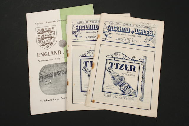 Programmes for International games at Maine Road