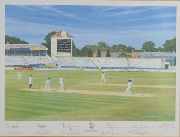 Warwickshire County CC signed print Brian Lara hits Morris for 4 to score 501, Edgbaston 1954, signed in the margin by Lara and the Warwickshire team.  Framed.