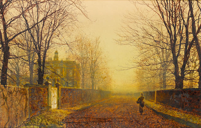 John Atkinson Grimshaw (British 1836-1893) Golden Autumn 30.5 x 46 cm. (12 x 18 in.)