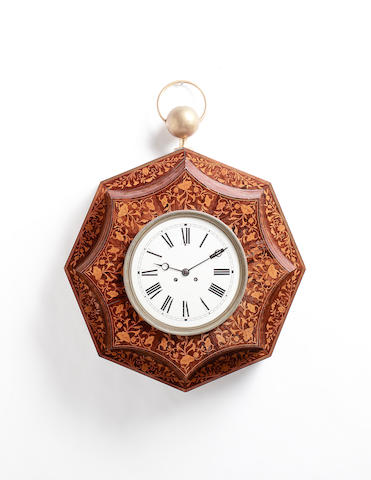 A very large mid 19th century French marquetry inlaid rosewood wall clock