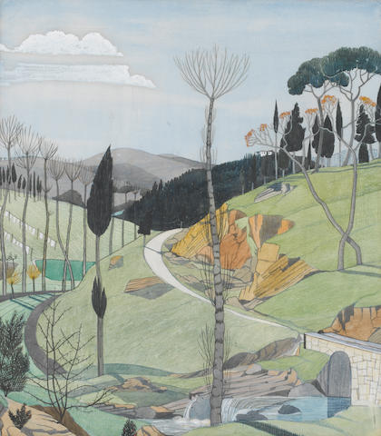 John Nash R.A. (1893-1977) Landscape, South of France 43.5 x 38 cm. (17 1/8 x 15 in.)