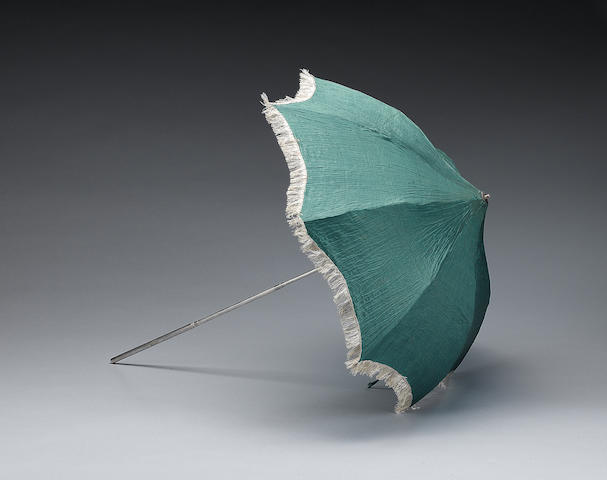 A rare George III silver handled folding parasol, by Joshua Cooper, London 1799,