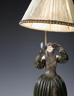 D H Chiparus A bronze and ivorty table lamp