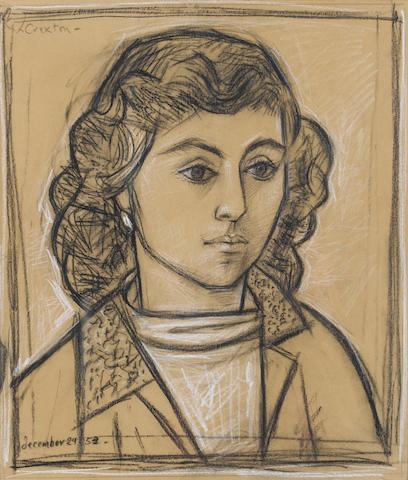 John Craxton R.A. (b.1922) A Greek Girl 43.5 x 37 cm. (17 1/8 x 14 1/2 in.)