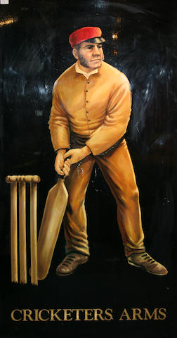 """Cricketers Arms"", large hand-painted pub sign"