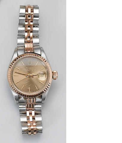 Rolex. A lady's stainless steel and rose gold calendar bracelet watch Oyster Date, 1970