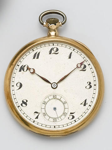 Rolex. A 9ct gold open face pocket watch Glasgow Import mark for 1924