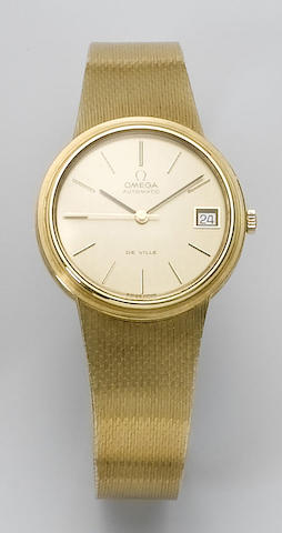 Omega. An 18ct gold calendar bracelet watch  1970's