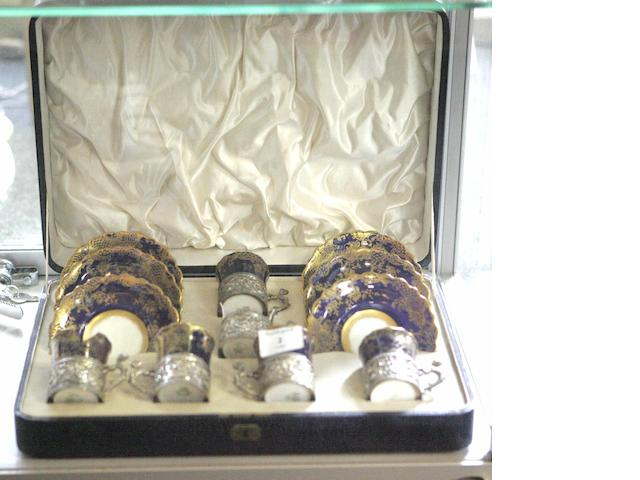 An Aynsley continental silver mounted and cased coffee set,