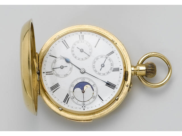Swiss. A late 19th century 18ct gold minute repeater full hunter pocket watch retailed by Sir John Bennet, 65 & 64 Cheapside, London