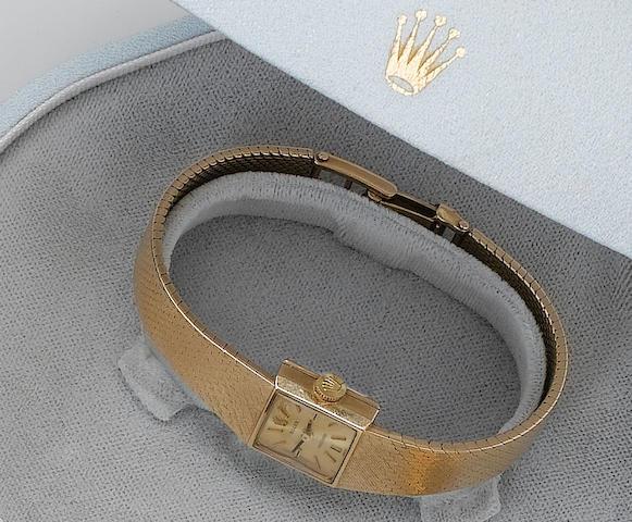 Rolex. A lady's 9ct gold bracelet watch Birmingham Hallmark for 1970