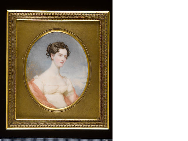 (n/a) Andrew Robertson, MA (Scottish, 1772-1845), Miss Gordon of Carroll, wearing white décolleté dress trimmed with lace and with short sleeves, pink shawl draped around her arms her dark hair dressed in curls and upswept