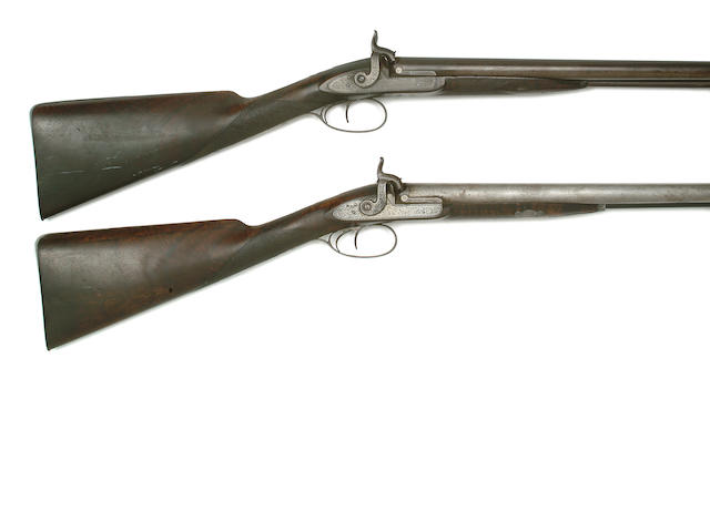 A Pair Of 12-Bore D.B. Percussion Sporting Guns