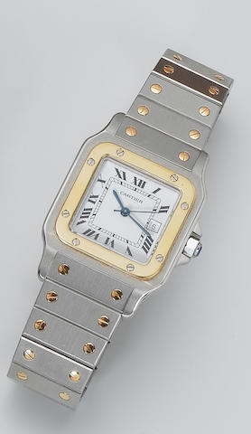 Cartier. A stainless steel and gold calendar wristwatch Santos, recent
