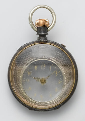 Swiss. A late 19th century gunmetal mystery pocket watch  Mysterieuse
