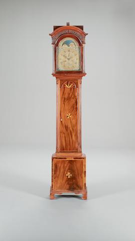 A late 18th century mahogany longcase with moon-phase Signed Adam Cleak, Bridport