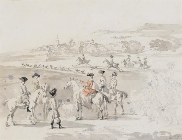 Peter Tillemans (British, 1684-1734) The hunt 20 x 26 cm. (8 x 10 in.)