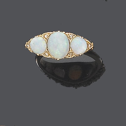 An opal three-stone ring