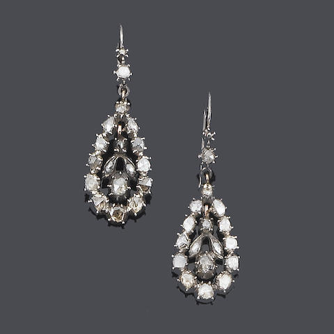 A pair of early 19th century diamond pendent earrings,