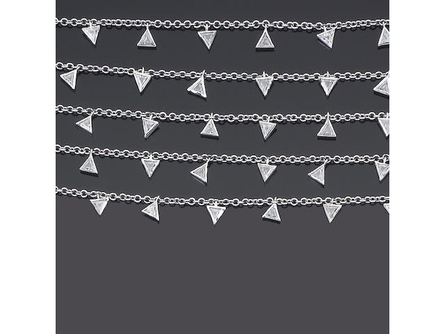 A diamond multi-strand necklace