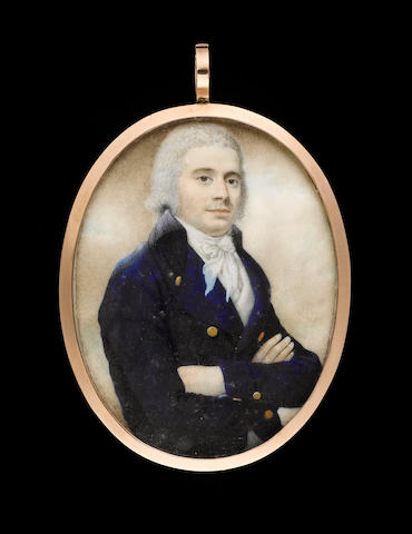 John Russell R.A., A Gentleman, half-length, his arms folded, wearing blue coat with black collar, white waistcoat and tied cravat, his hair powdered