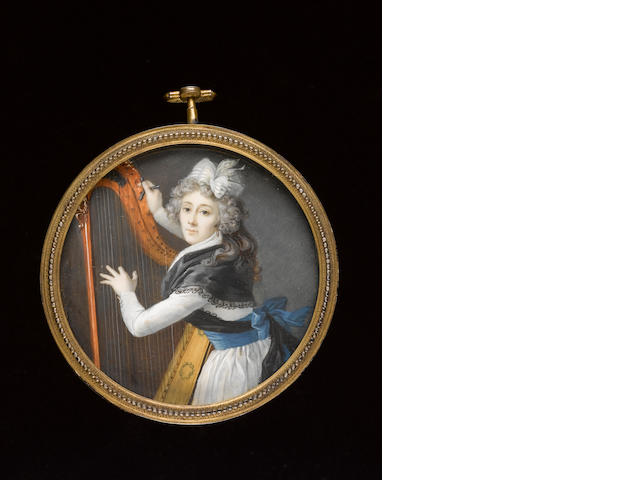 French School, A Lady, wearing white dress with wide blue ribbon waistband tied at the back in a large bow, black lace edged shawl also tied at the back, gold hoop earring and striped white ribbon in her powdered hair, she holds a tuning key in her right hand and plucks her harp with her left hand
