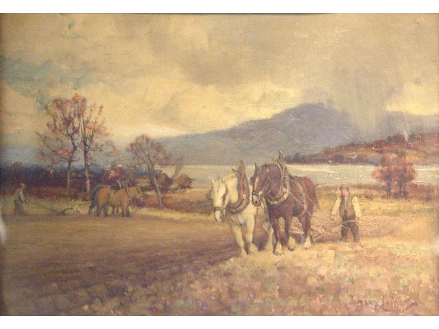 Tomson Laing (fl1890-1904) Plough Scene
