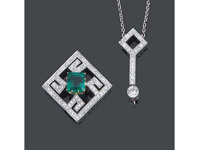 An early 20th century diamond and emerald pendant, (2)
