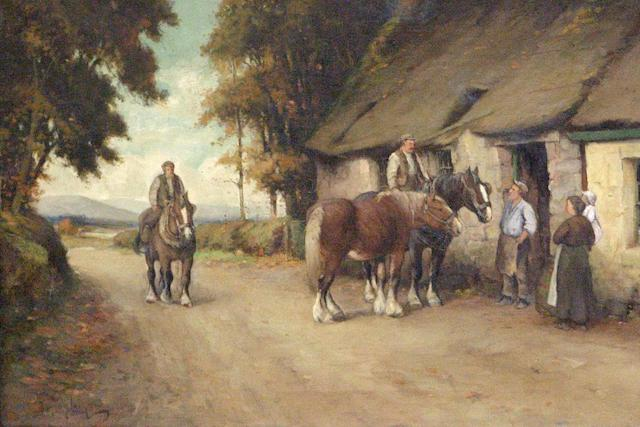 Tomson Laing (fl1890-1904) Horses by a blacksmith's
