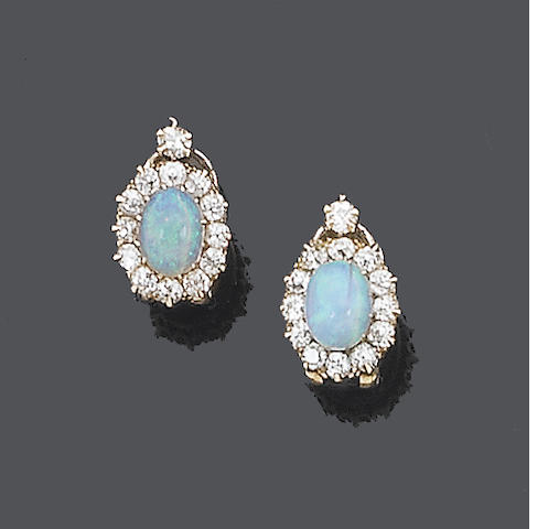 A pair of 19th century opal and diamond earclips,