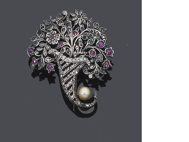 An early 19th century diamond and multi gem-set brooch,