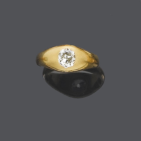An early 20th century diamond single-stone ring,