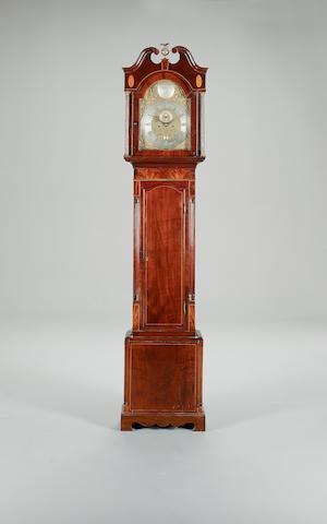 A late 19th century boxwood strung mahogany longcase clock Signed Richard Wright, Witham