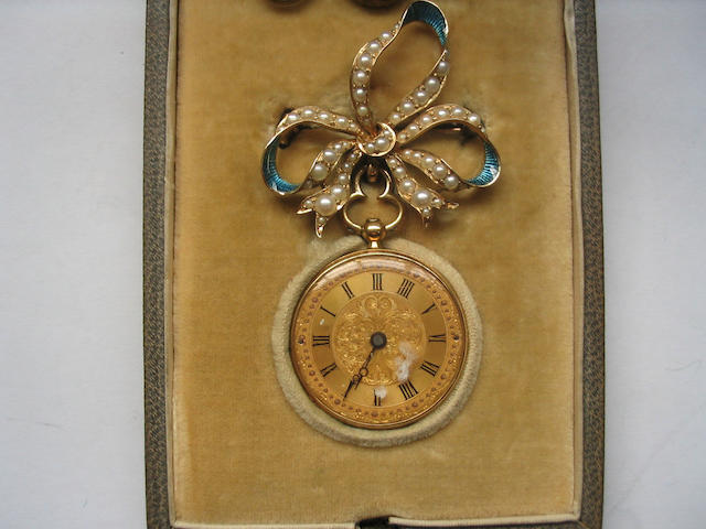 A 19th Century 18ct gold and enamel fob watch, suspended from an enamel and seed pearl bow brooch Moulinie' Geneve