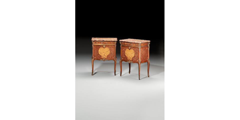A pair of late 19th century French tulipwood, kingwood, purplewood and sycamore marquetry Petit Commodes by Veuve P.Sormani & Fils, in the Louis XVI style