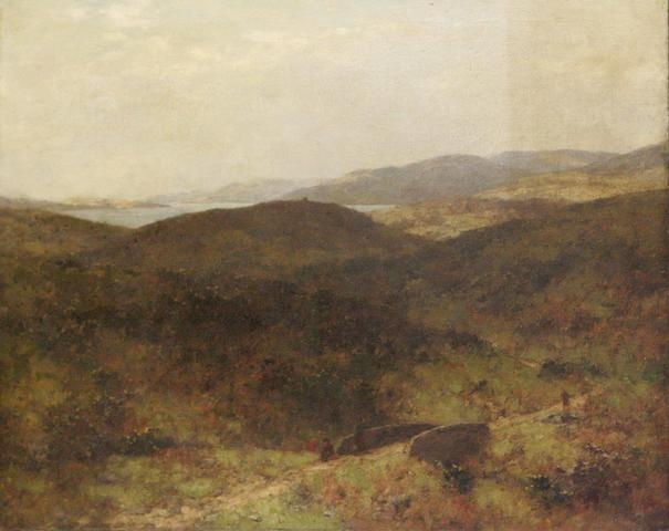 Alexander Kellock Brown RSA RSW RI (1849-1922) Landscape with loch in the distance, together with a portrait by another hand (2)
