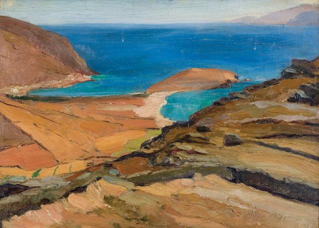 Nikolaos Lytras (1883-1927) Shores of Tinos 49 x 69 cm. (19 1/4 x 27 1/8 in.)