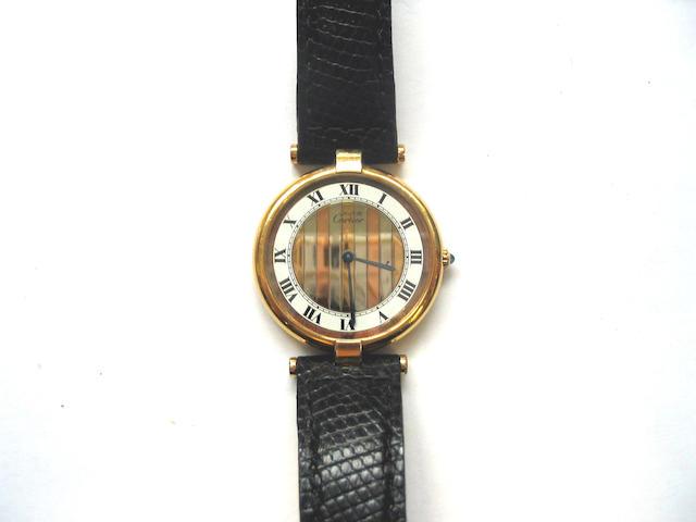 Cartier. A gold plated wristwatch  Must de Cartier, 1990's