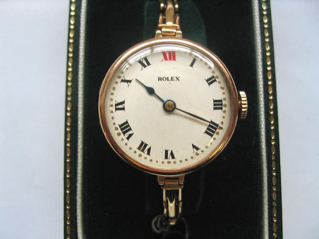 Rolex. A lady's 9ct gold bracelet watch  London Import mark for 1919